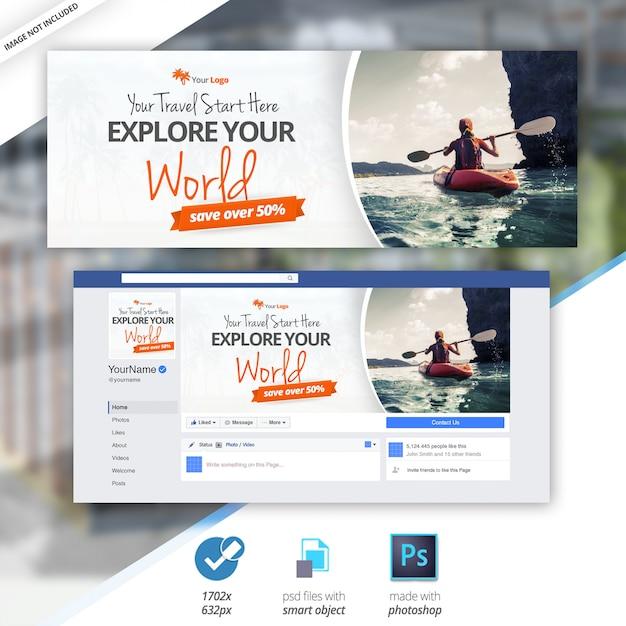 Travel facebook timeline cover banner Psd Premium