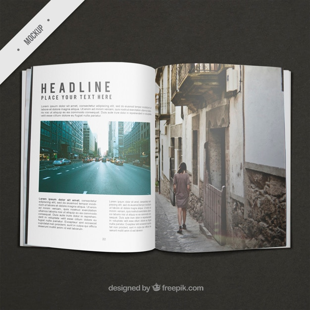 Travel magazine mockup Psd Gratuite
