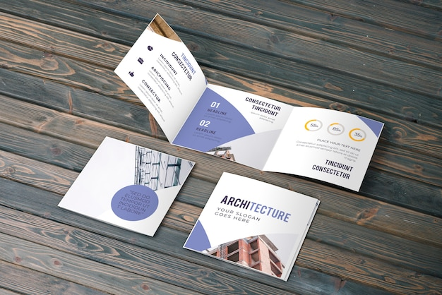 Trifold zakelijke brochure mockup Gratis Psd
