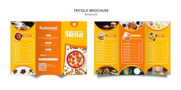 Tripfold plantilla de folleto de restaurante en línea PSD gratuito