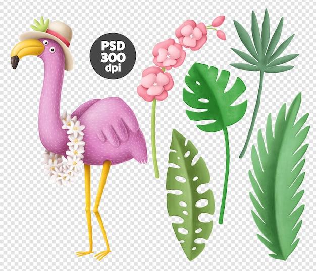 Tropische flamingo en bladeren Premium Psd