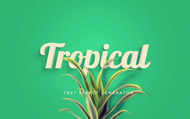 Tropische teksteffectengenerator Premium Psd
