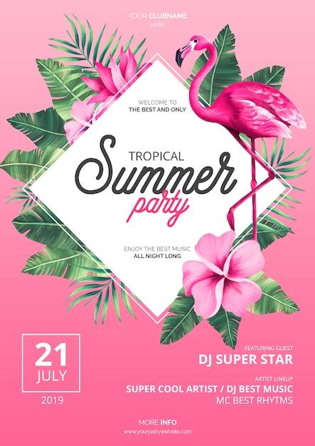 Tropische zomer partij poster sjabloon met roze flamingo Gratis Psd