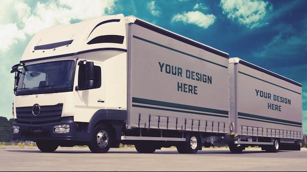 Truck trailer mockup Premium Psd