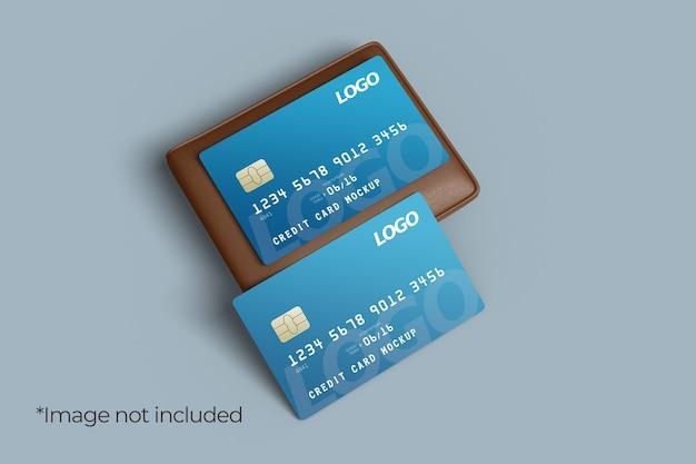 Twee creditcard mockup-ontwerp met linkerhoekweergave van de portemonnee Premium Psd