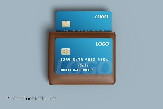Twee creditcard mockup-ontwerp met portemonnee Premium Psd