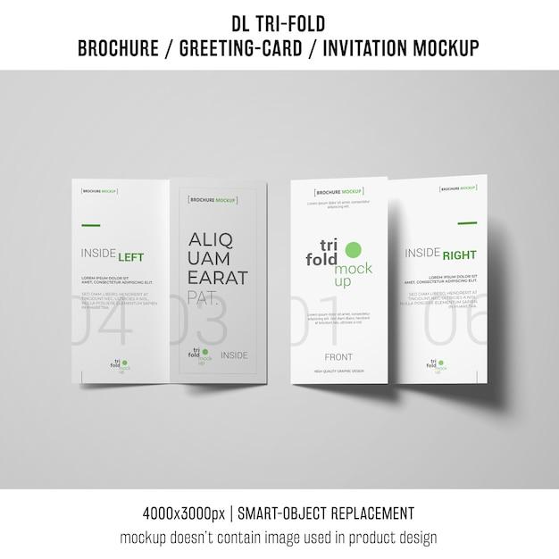 Twee driebladige brochure of uitnodiging mockup Gratis Psd