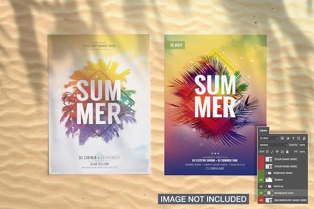Twee flyer met palm schaduw mockup Gratis Psd