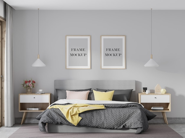 Twee houten frames mockup in lichte slaapkamer Premium Psd