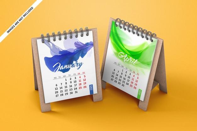 Twee mini bureaukalenders mockup Premium Psd