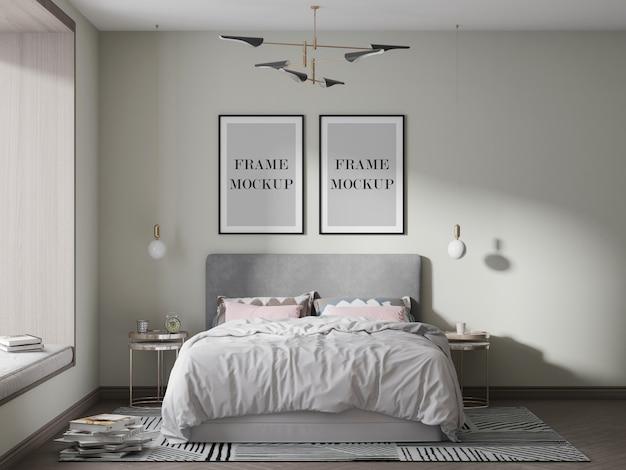 Twee zwarte fotolijsten mockup met bed en lampen Premium Psd
