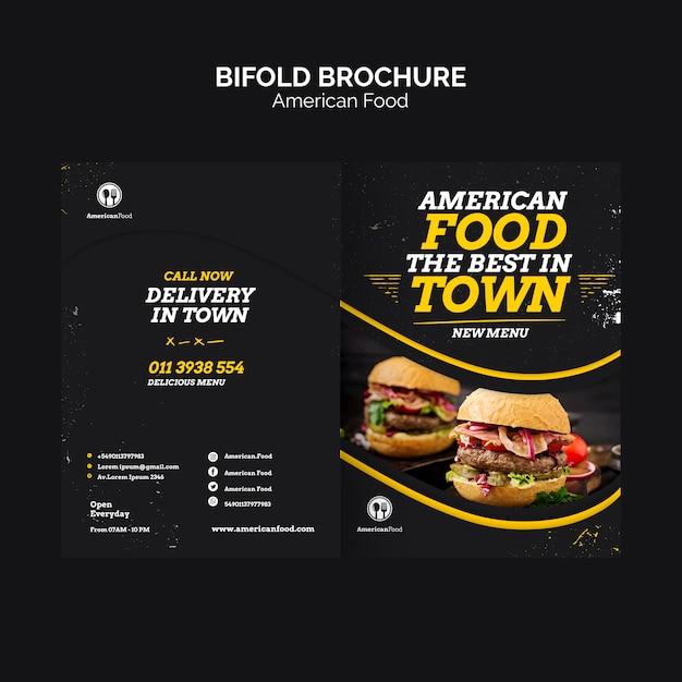 Tweevoudige brochure amerikaans eten Gratis Psd