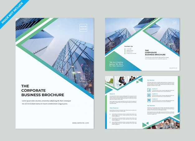 Tweevoudige brochure template Premium Psd