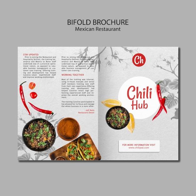 Tweevoudige brochure voor mexicaans restaurant Gratis Psd