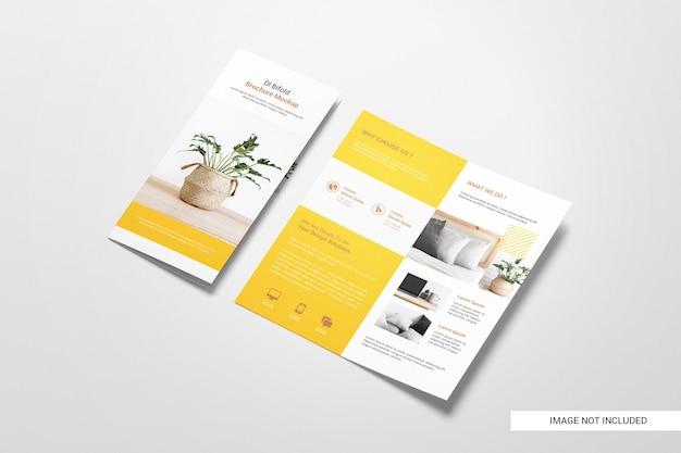 Tweevoudige flyer brochure mockup Gratis Psd