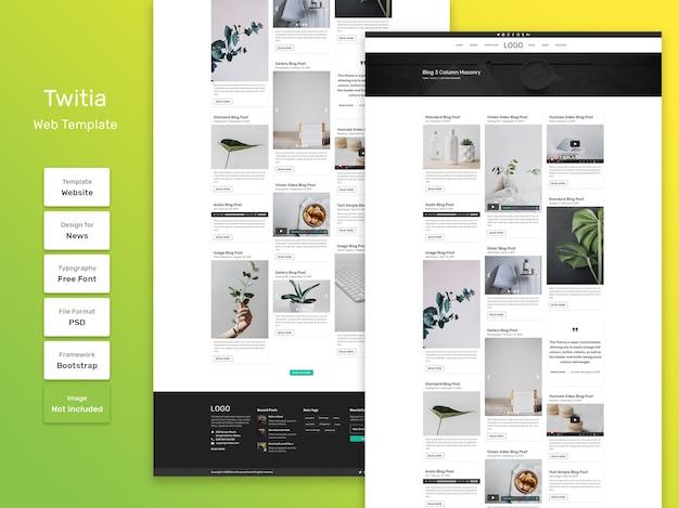 Twitia persoonlijke blog categorie pagina websjabloon Premium Psd
