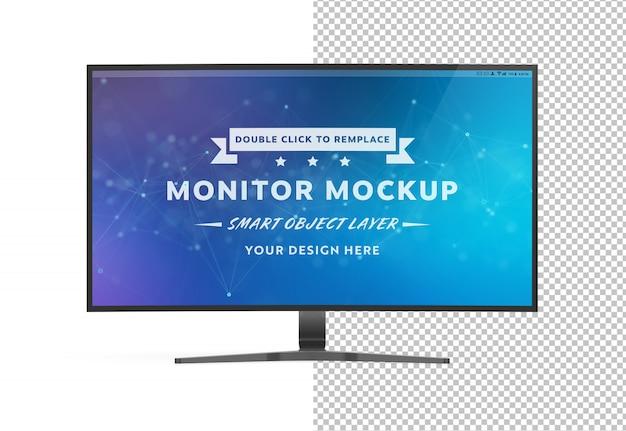 Uitgesneden gebogen monitorcomputer mockup Premium Psd