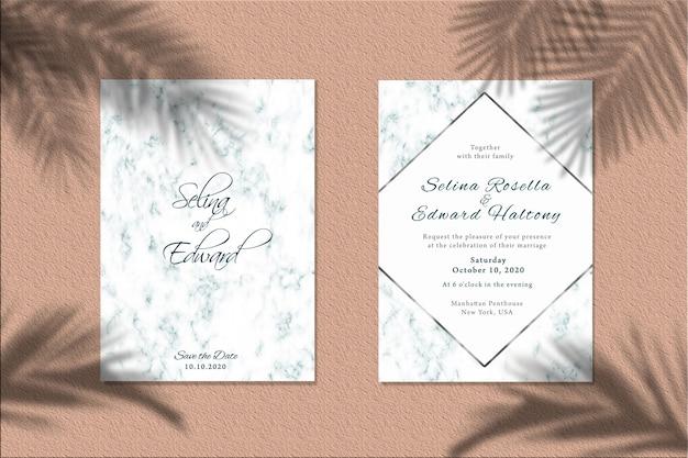Uitnodigingskaart mockup met palmbladen schaduw Premium Psd