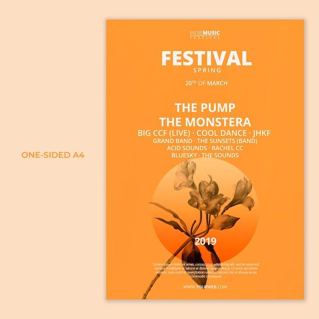 Un modello a4 unilaterale con il concetto del festival di primavera Psd Gratuite