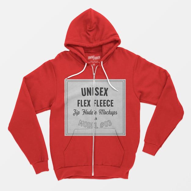 Unisex flex fleece hoodie met rits mockup 03 Gratis Psd