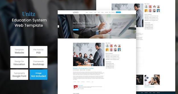 Unitz onderwijs website ontwerpsjabloon Premium Psd