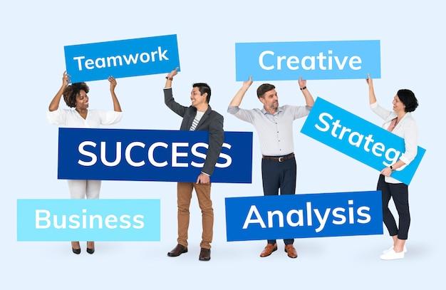 Uomini d'affari con un piano per il successo Psd Premium