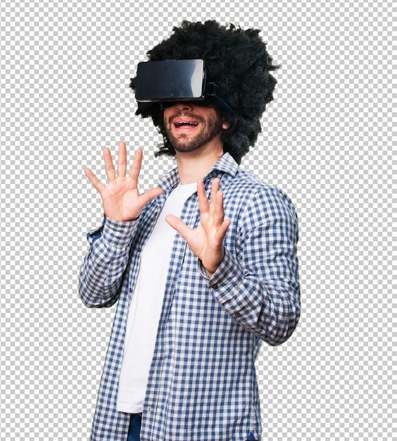 Uomo afro indossando occhiali per realtà virtuale Psd Premium