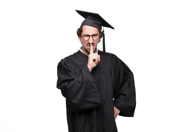Uomo barbuto laureato che gesturing Psd Premium