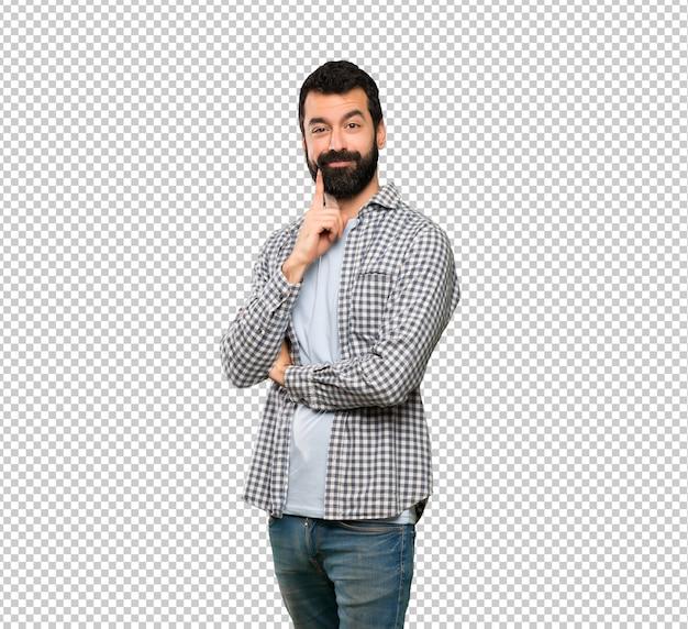 Uomo bello con la barba che sembra anteriore Psd Premium