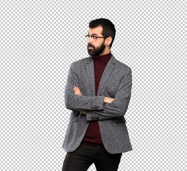 Uomo bello con ritratto di occhiali Psd Premium