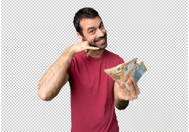 Uomo che prende un sacco di soldi facendo il gesto del telefono. chiamami segno Psd Premium