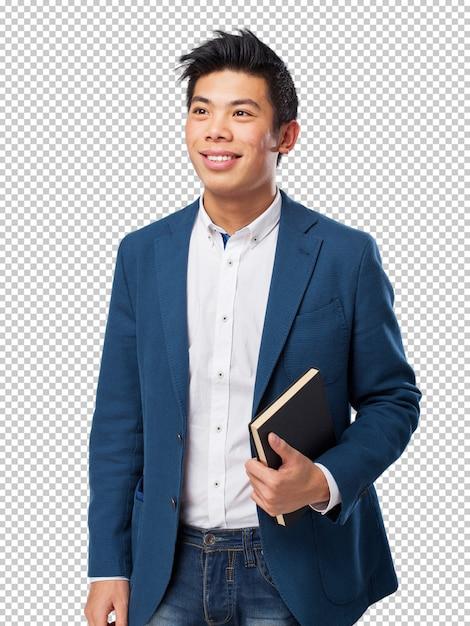 Uomo cinese con libro Psd Premium