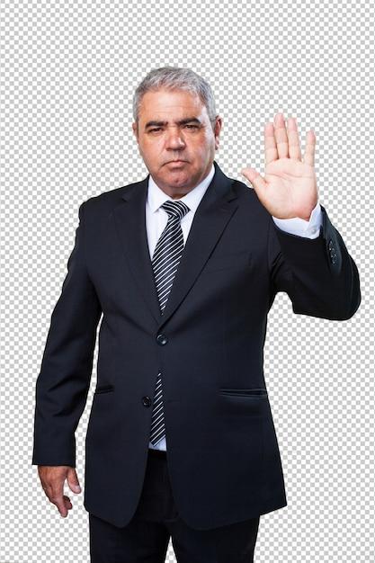 Uomo di affari che fa un gesto di arresto Psd Premium