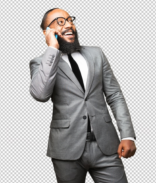 Uomo di colore che parla su un cellulare Psd Premium