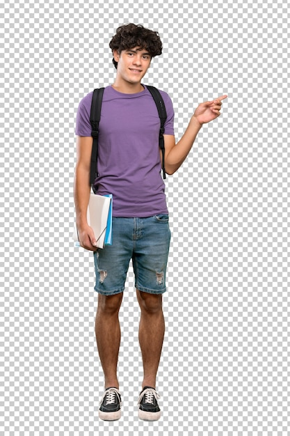 Uomo giovane studente che punta il dito verso il lato Psd Premium