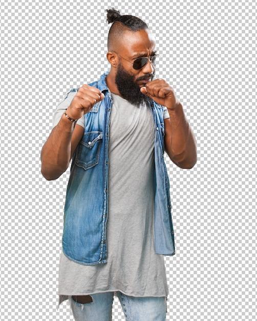 Uomo nero che combatte Psd Premium