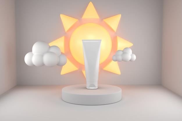 Uv-zonnebrandproduct met poduimzon Premium Psd