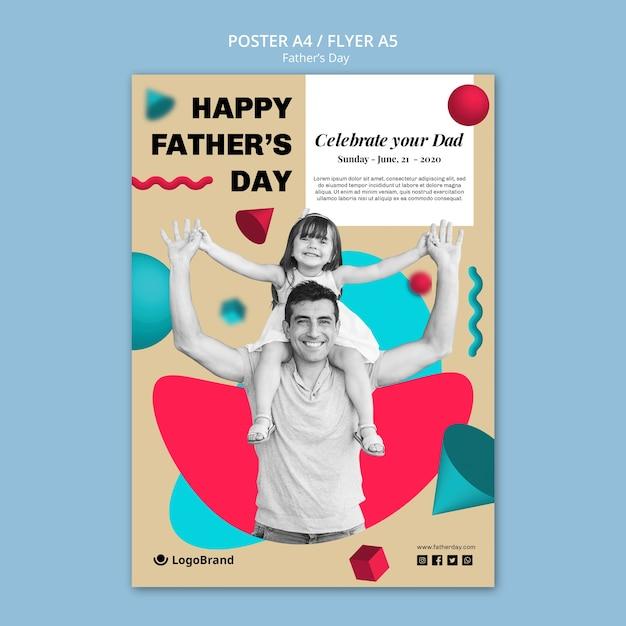 Vader en dochter vaders dag poster sjabloon Gratis Psd