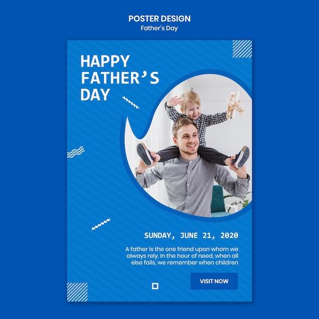 Vaderdag met kind poster sjabloon Gratis Psd