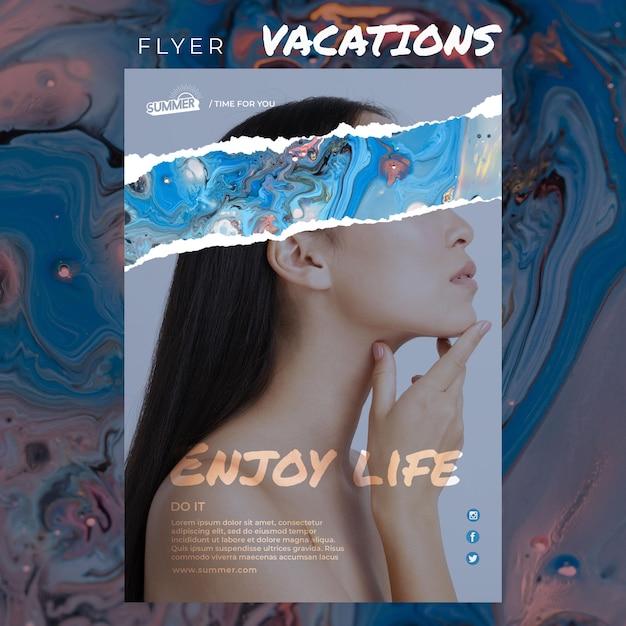 Vakantie concept flyer sjabloon Gratis Psd