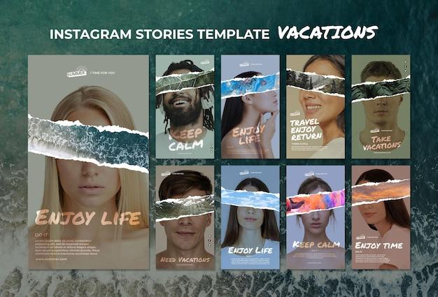 Vakantie concept instagram verhalen sjabloon Gratis Psd