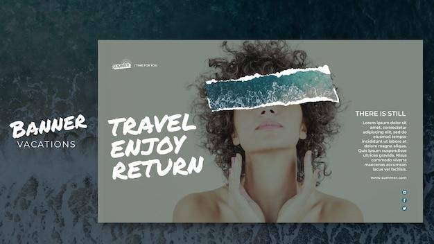 Vakantie concept sjabloon voor spandoek Gratis Psd
