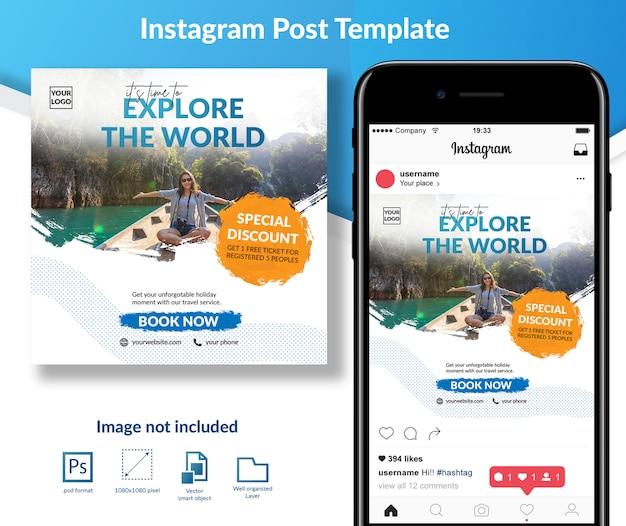 Vakantie reizen sociale media post sjabloon Premium Psd