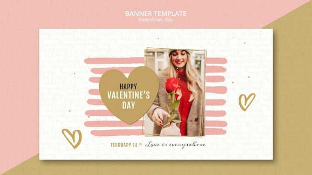 Valentijnsdag concept sjabloon voor spandoek Gratis Psd