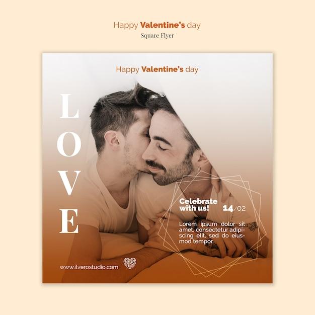 Valentijnsdag flyer mock-up met mannelijke partners Gratis Psd