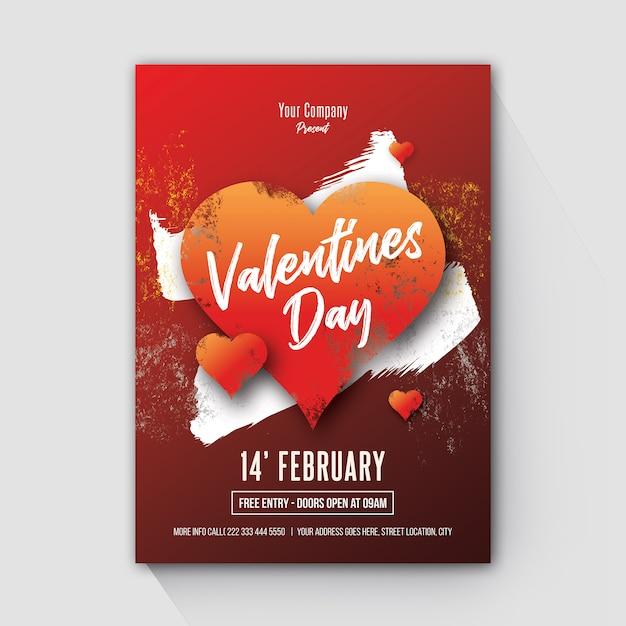 Valentijnsdag grunge stijl flyer Premium Psd