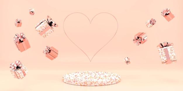 Valentijnsdag interieur met voetstuk, harten. Premium Psd