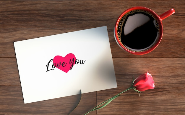 Valentijnsdag kaart met koffie en roos Gratis Psd