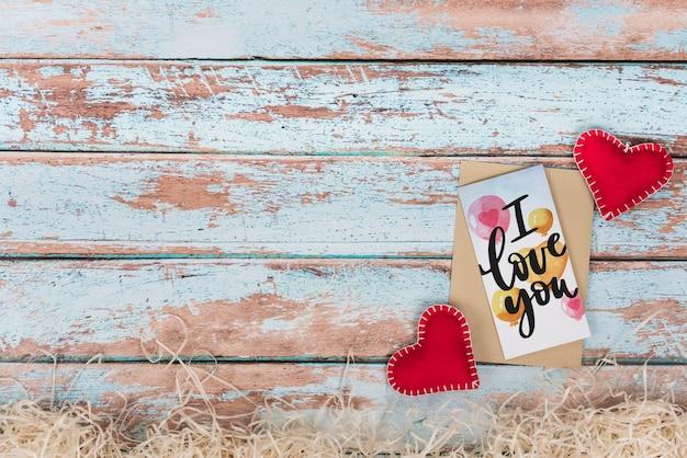 Valentijnsdag kaart mockup met copyspace Gratis Psd
