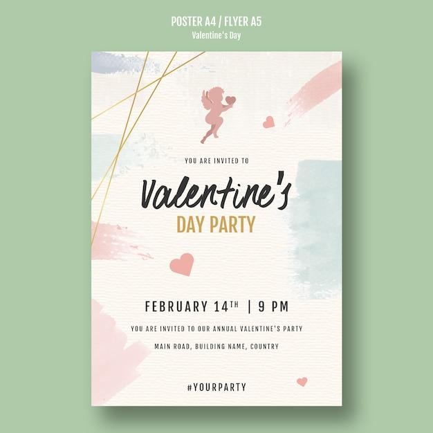 Valentijnsdag partij flyer met engelen Gratis Psd